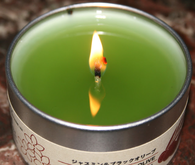 Muji Jasmine and Black Olive Tin Candle