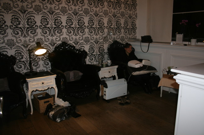 Nail room (Grace waiting for her nails to dry).