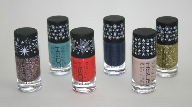 GOSH Spring 2013 Nail Lacquers from left to right: Girls on Film, Venus, Tropicana, Tilted Blue, Highschool Flirt and Greed.