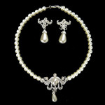 Ivory Pearl Two Piece Shimmer Ladies Necklace and Earrings Jewelry Set £9.90