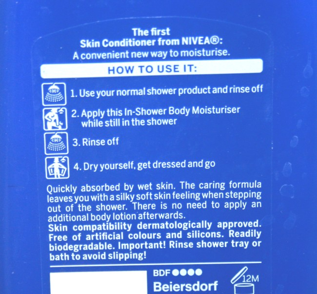 Nivea In Shower Body Moisturiser instructions