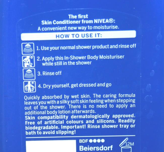 Nivea In Shower Body Moisturiser instructions