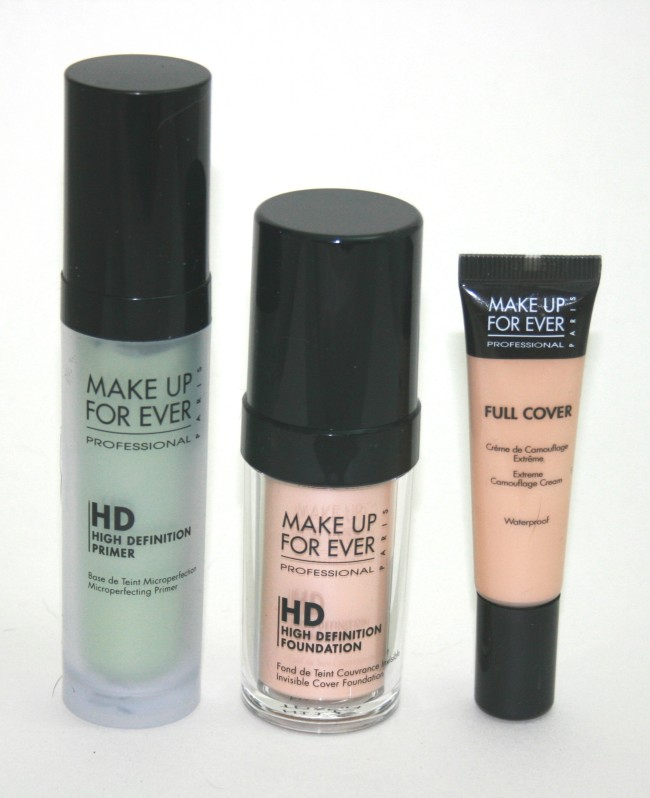 MUFE HD Foundation, HD Green Primer and High Cover Concealer
