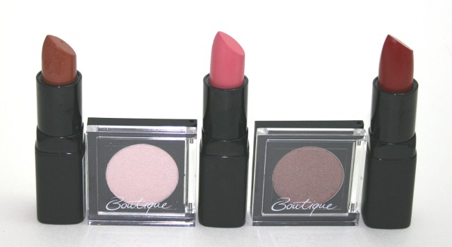 From left to right:  That Ol' Chestnut lipstick, In the Limelight eyeshadow, Lip in the Bud lipstick, Brownie Points eyeshadow and Paint the Town Red lipstick.