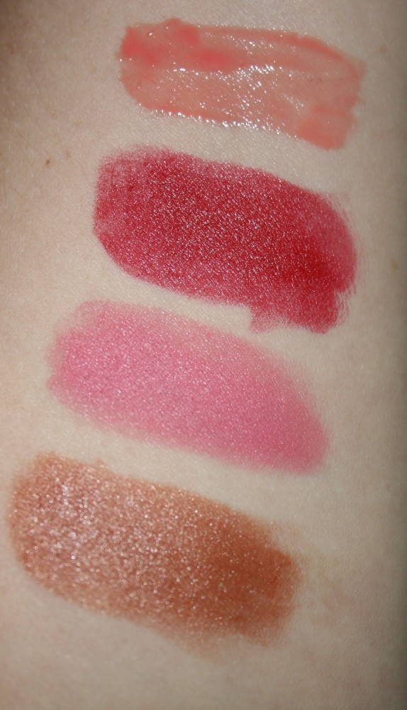 Top to bottom: Lipgloss in Lip Lip Hooray, Lipsticks in Paint the Town Red, Lip in the Bud and That Ol' Chestnut.