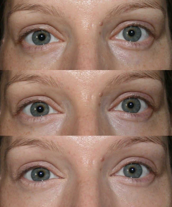 Top make-up free, middle with White Light, bottom with White Light and Light 2.