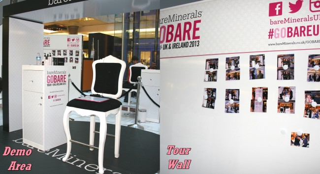 Bare Minerals Go Bare Tour Brent Cross Demo Chair and Tour Wall
