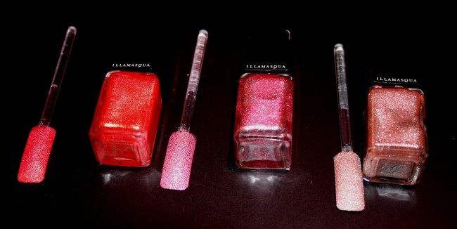 Illamasqua Glamore Shattered Star Nails Swatches from left to right: Marquise, Fire Rose and Trilliant.