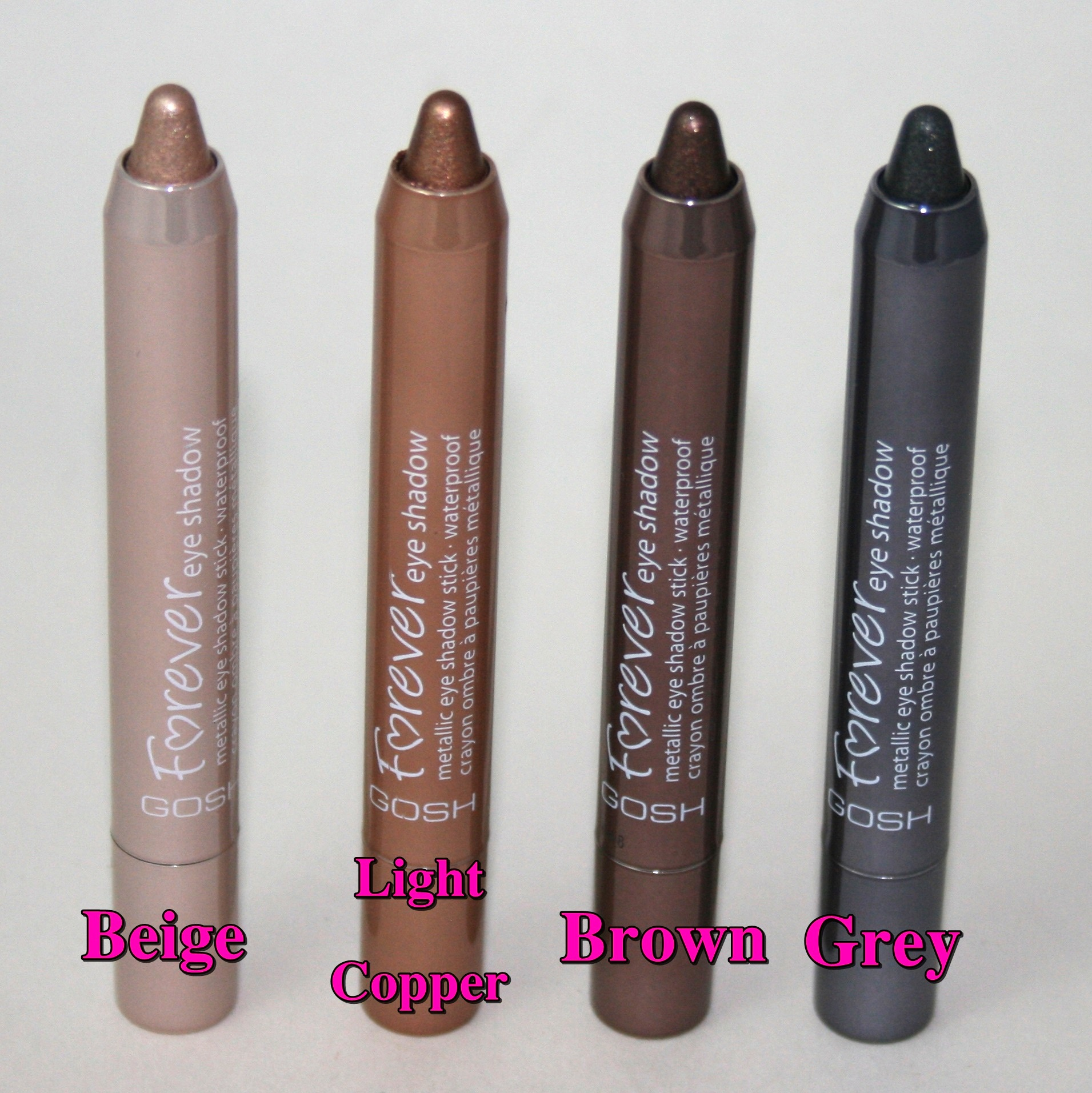 Gosh Forever Eyeshadows in Beige, Light Copper, Brown and Grey