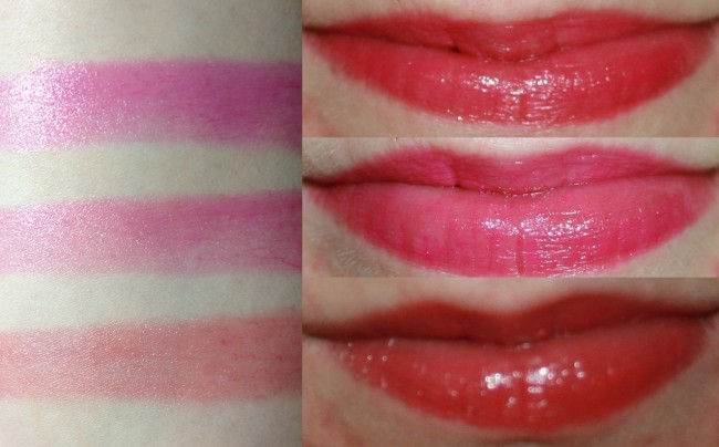 Top to bottom: Magenta Be Rouge, Fuchsia Flirt, Sunset Romance