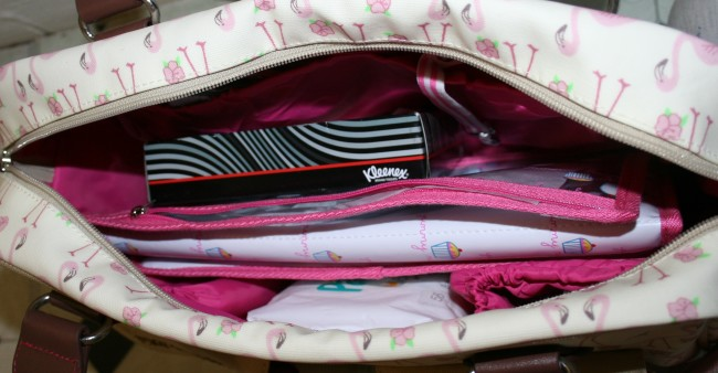 Pink Lining Changing Bag with contents