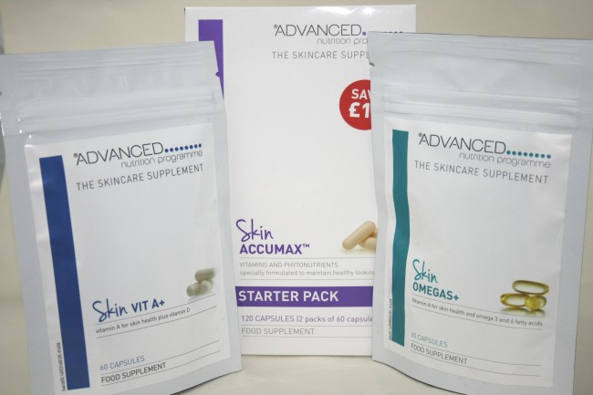 Advanced Nutrition Programme Supplements: Skin Accumax, Skin Omegas+ and Vit A+