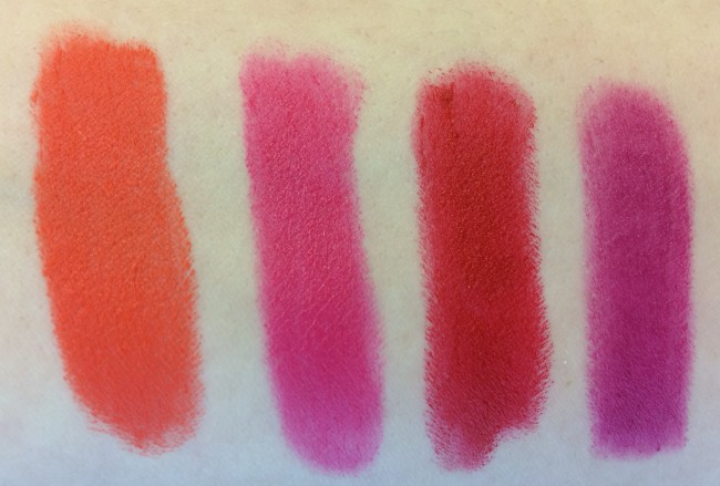 Clinique Long Last Soft Matte Lipsticks from L-R:  Matte Mandarin, Matte Magenta, Matte Crimson, Matte Plum