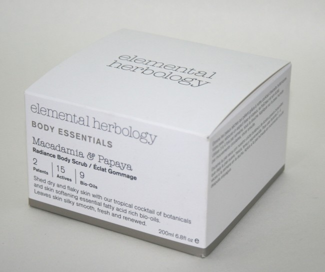 Elemental Herbology Macadamia & Papaya Radiance Body Scrub box