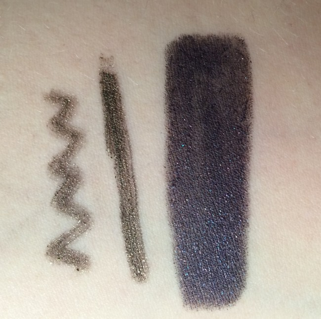 Left and middle; Mystery Smoky Eye Pencil, right: Colour-Up Long Lasting Eyeshadow.