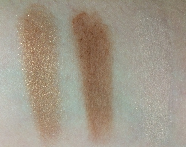 Left Gold Bronzing Powder, middle bronzing powder in duo and right is the highlighter shade in the duo.
