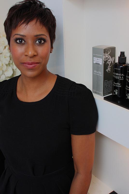 Antonia head shot & product