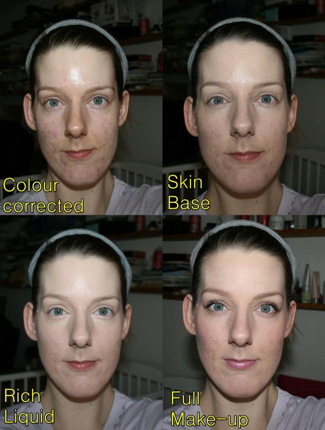 Illamasqua Skin Base and Rich Liquid Foundations On the Face