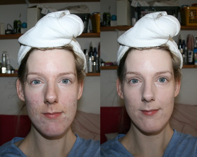 Elizabeth Arden Flawless Finish Perfectly Satin Foundation Before and After