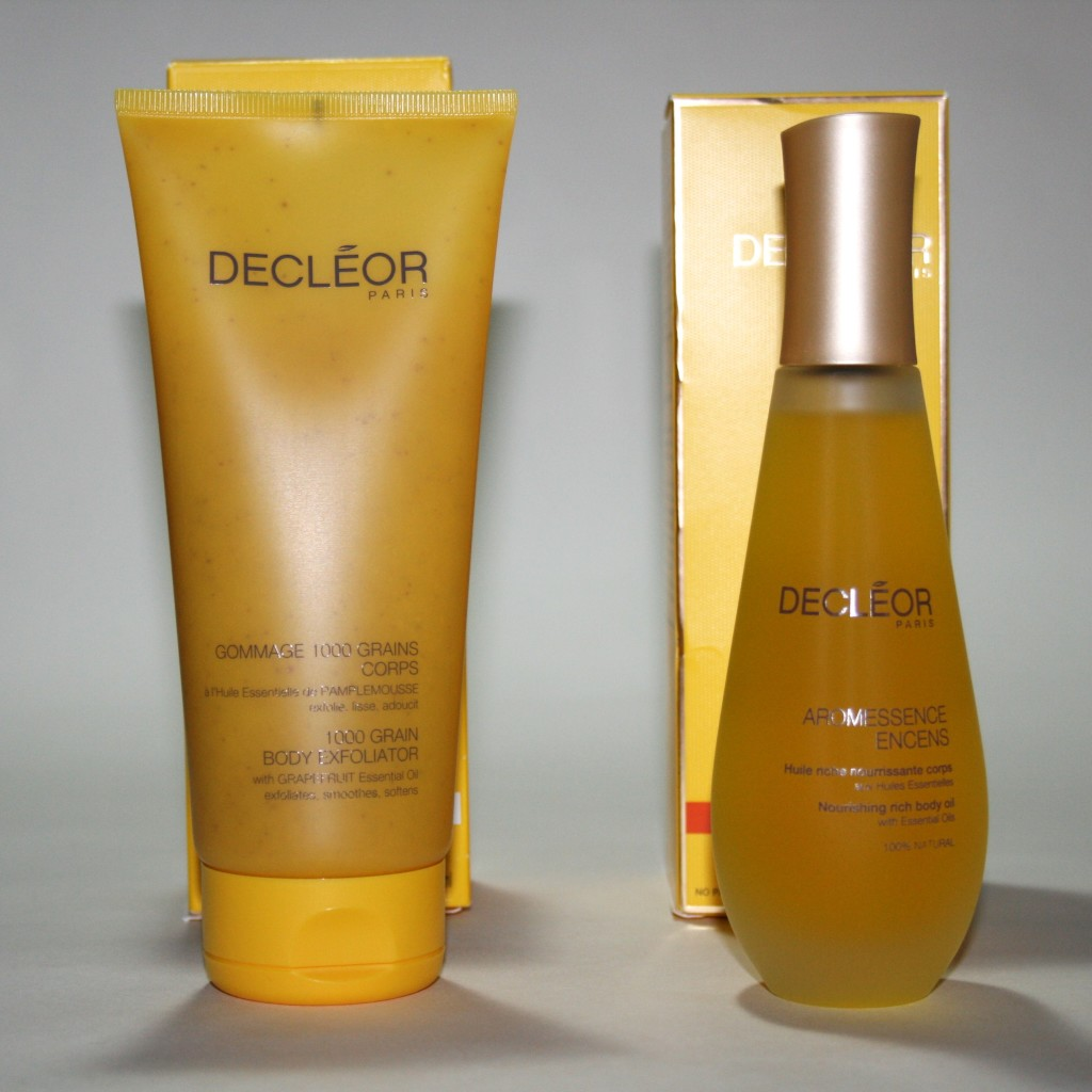 Decleor Aroma Nutrition 1000 Grain Body Exfoliator and Aromessence Encens Nourishing Rich Body Oil