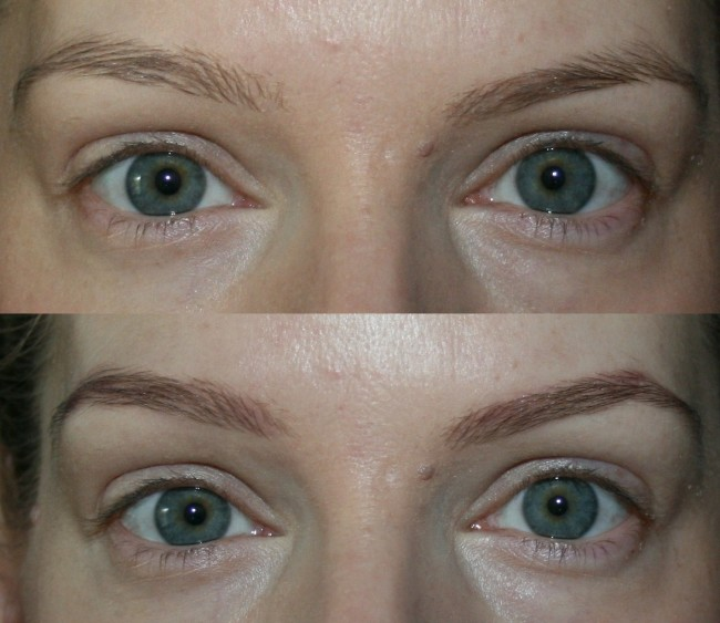 Cosmetics A La Carte Brow Ink Taupe Before and After