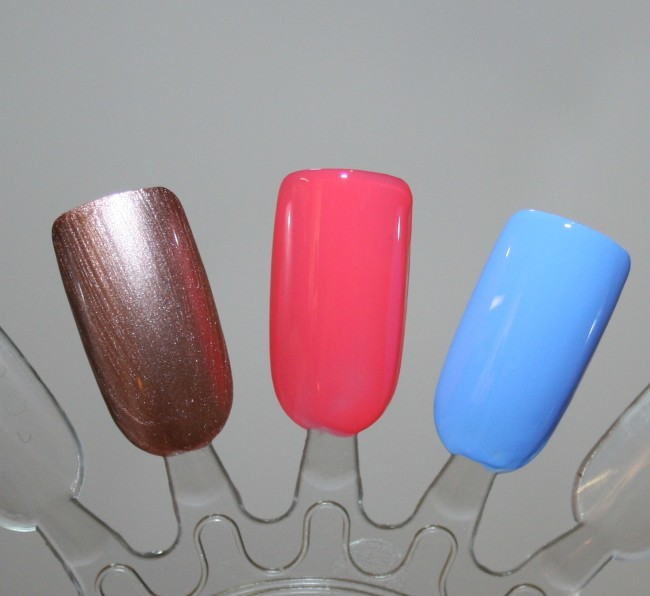 Boots No7 SS15 Rose Gold Grapefruit and Bluebell Gel Effect Polishes Swatches
