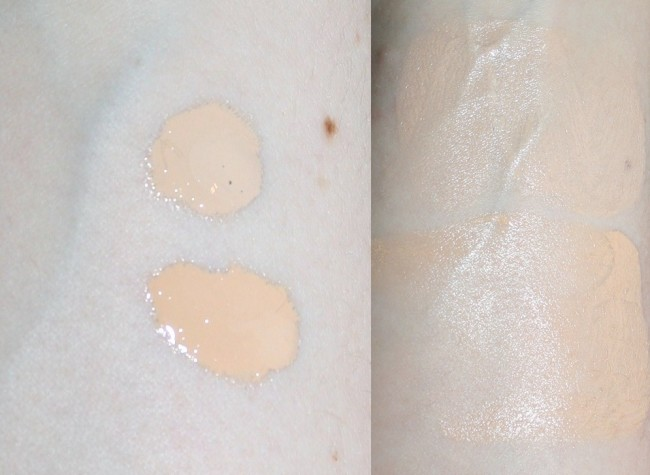 Gosh Foundation Drops Swatches 002 Ivory and 004 Natural