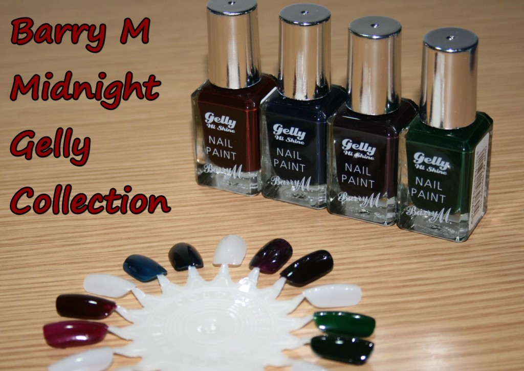 Barry M Midnight Gelly Collection (Black Currant, Black Cherry, Black Pistachio, Black Grape)