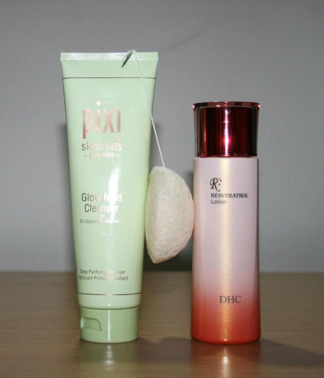 Pixi Glow Mud Cleanser, Konjac Sponge, DHC Resveratrol Lotion