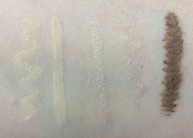 Left to right: Brow Luminizer matte end and highlighter end, then Blonde Brow Amplifier.