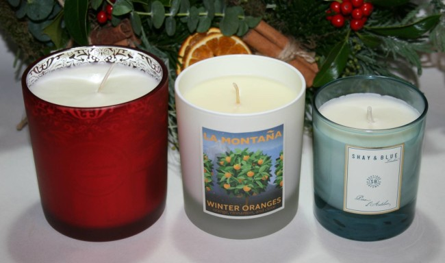 Christmas Candles 2015 Arran Aromatics, La Montana, Shay & Blue