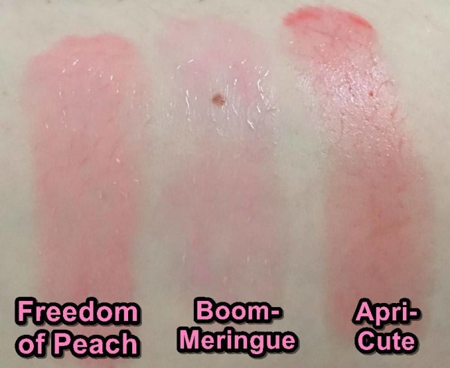 Lancome Juicy Shakers Swatches Freedom of Peach, Boom-Meringue and Apri-Cute