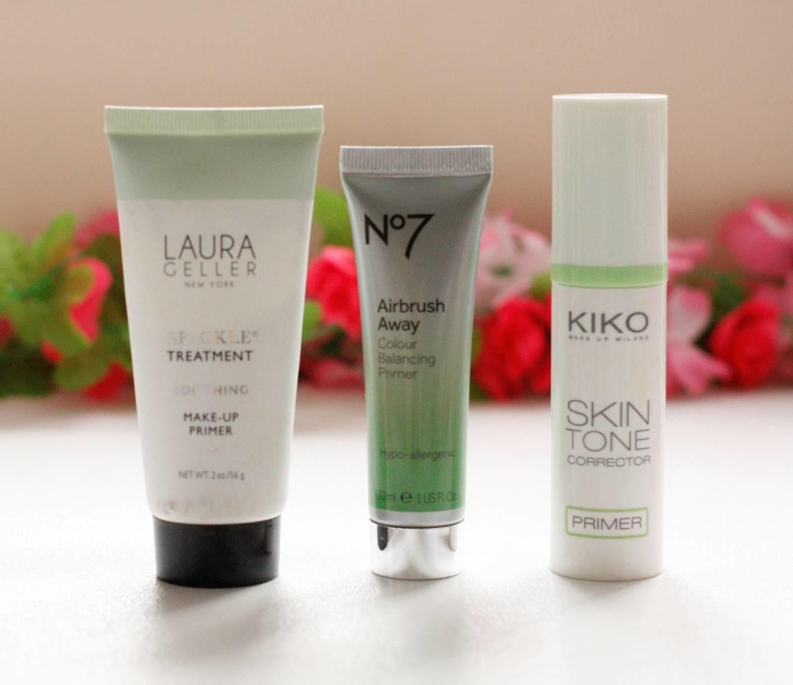 Green Colour Correctors Primers from Laura Geller, No7 and Kiko