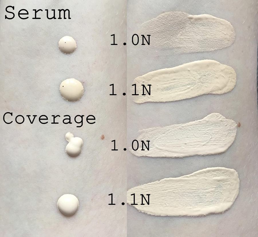 The Ordinary Colours Serum and Coverage Foundation in 1.0 and 1.1 Swatches