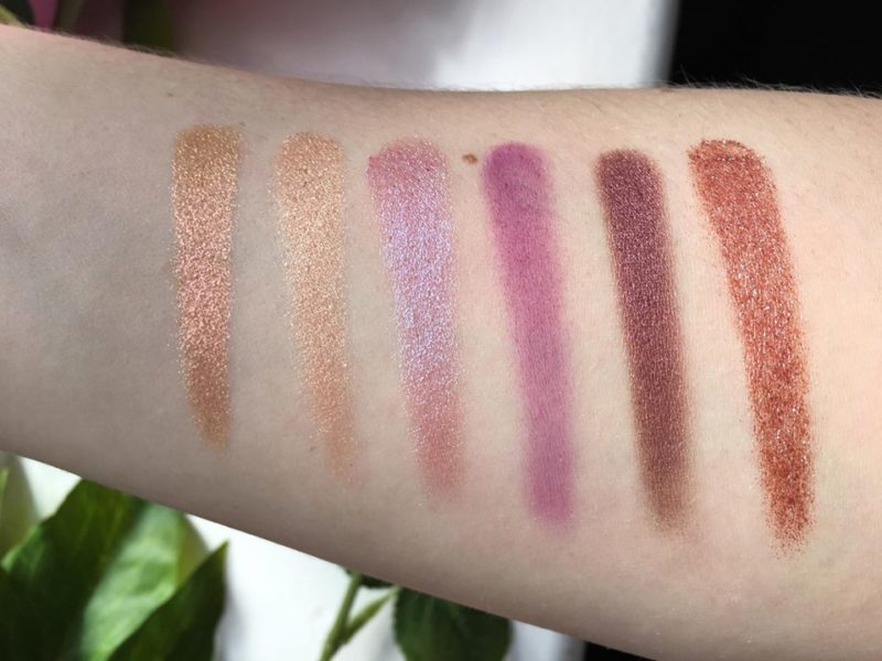 Huda Beauty Desert Dusk Eyeshadow Palette Second Row Swatches