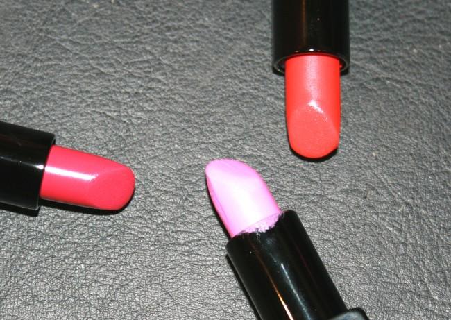 Illamasqua Glamore Satin Finish Lipsticks from left right: Glissade, Luster and Soaked.