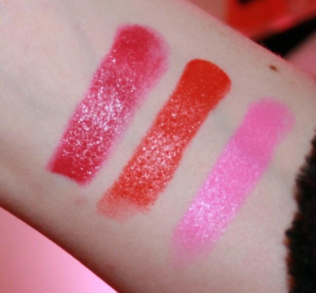 Illamasqua Satin Finish Glamore Lipsticks Swatches from left right: