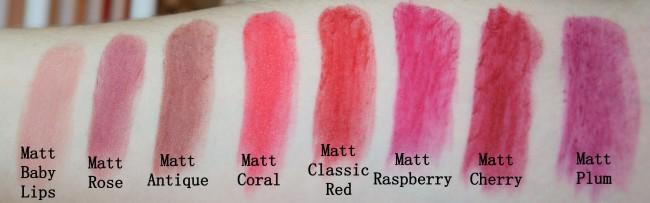 Gosh Velvet Touch Lipstick Matt Swatches